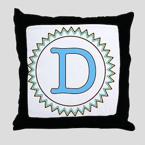Letter D Blue Yellow Brown Zig Zag Throw Pillow