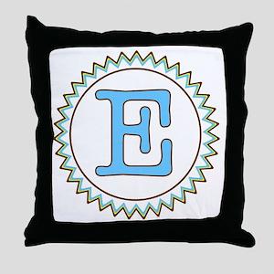 Letter E Blue Yellow Brown Zig Zag Throw Pillow
