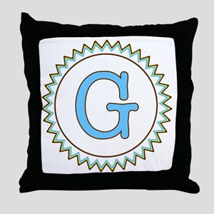 Letter G Blue Yellow Brown Zig Zag Throw Pillow