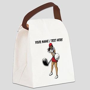 Custom Woman Golfer Canvas Lunch Bag