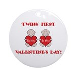 Twins' First Valentines Ornament (Round)