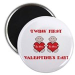 Twins' First Valentines Magnet