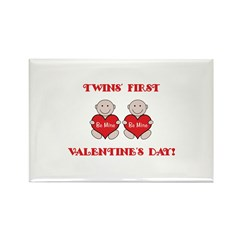 Twins' First Valentines Rectangle Magnet