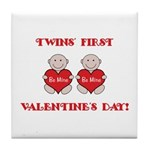 Twins' First Valentines Tile Coaster