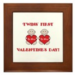 Twins' First Valentines Framed Tile