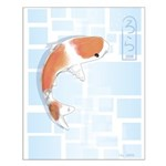 Koi Fish in Blue Small Poster