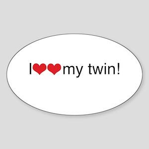 I heart my twin Oval Sticker