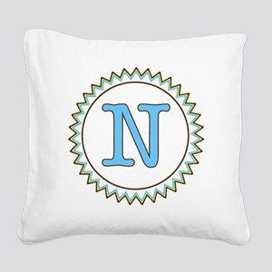 Letter N Blue Yellow Brown Zi Square Canvas Pillow