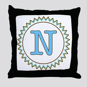 Letter N Blue Yellow Brown Zig Zag Throw Pillow