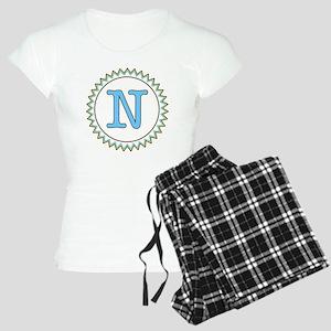 Letter N Blue Yellow Brown  Women's Light Pajamas