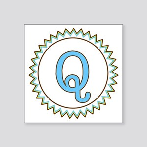 """Letter Q Blue Yellow Brown  Square Sticker 3"""" x 3"""""""