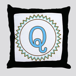 Letter Q Blue Yellow Brown Zig Zag Throw Pillow