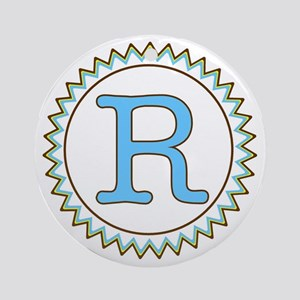 Letter R Blue Yellow Brown Zig Zag Round Ornament