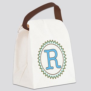 Letter R Blue Yellow Brown Zig Za Canvas Lunch Bag