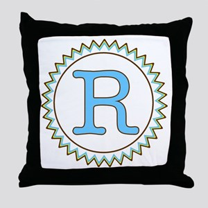 Letter R Blue Yellow Brown Zig Zag Throw Pillow