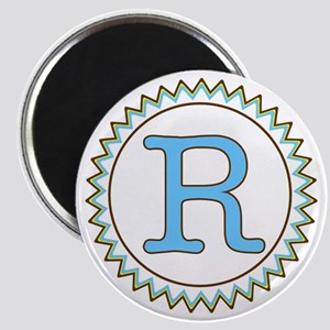 Letter R Blue Yellow Brown Zig Zag Magnet
