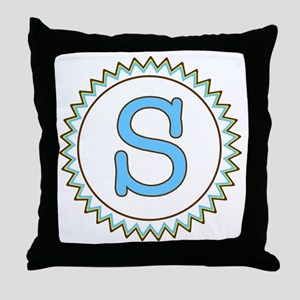 Letter S Blue Yellow Brown Zig Zag Throw Pillow