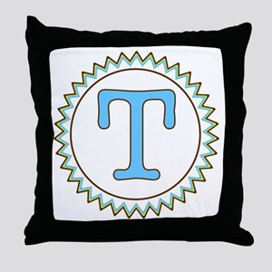 Letter T Blue Yellow Brown Zig Zag Throw Pillow