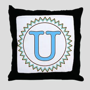 Letter U Blue Yellow Brown Zig Zag Throw Pillow