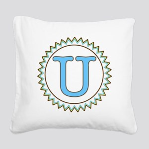 Letter U Blue Yellow Brown Zi Square Canvas Pillow