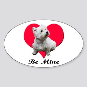 Sitting Westie Oval Sticker
