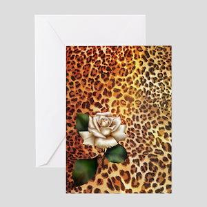 rose leopard print  Greeting Card