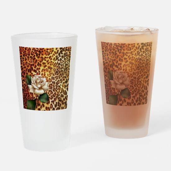 rose leopard print  Drinking Glass