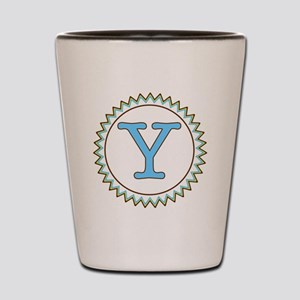 Letter Y Blue Yellow Brown Zig Zag Shot Glass