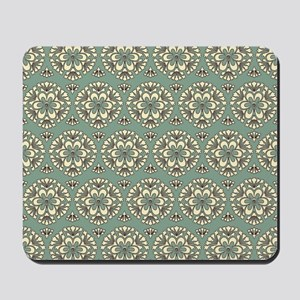 Sage Green Vintage Floral Abstract Mousepad
