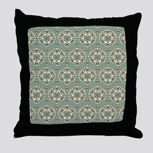 Sage Green Vintage Floral Abstract Throw Pillow