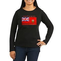 Ontario Flag Women's Long Sleeve Black T-Shirt