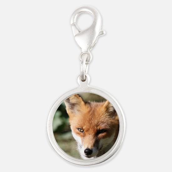 Fox001 Silver Round Charm