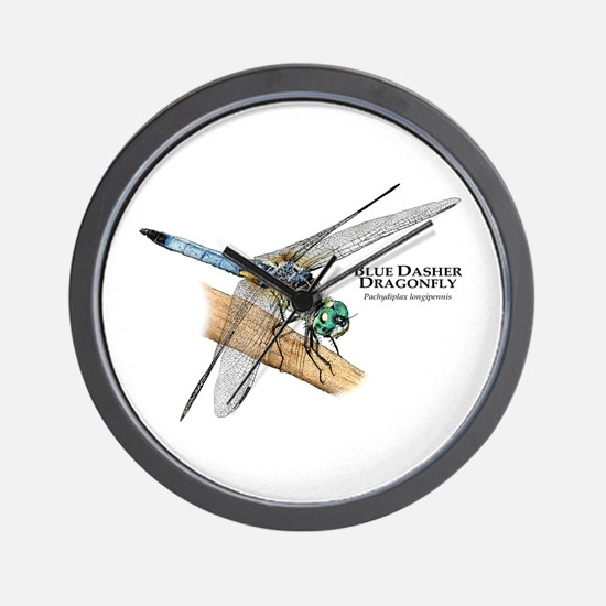 Blue Dasher Dragonfly Wall Clock