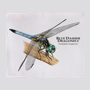 Blue Dasher Dragonfly Throw Blanket