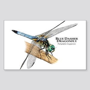 Blue Dasher Dragonfly Sticker (Rectangle)