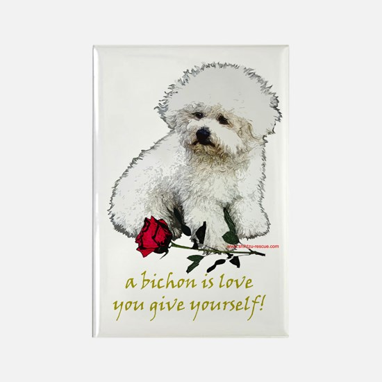 Bichon Frise Valentine Rose Rectangle Magnet
