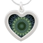 Green Circles Pattern Silver Heart Necklace
