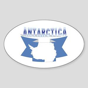 Antarctic flag ribbon Oval Sticker