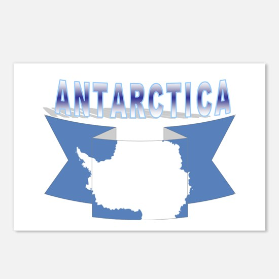 Antarctic flag ribbon Postcards (Package of 8)