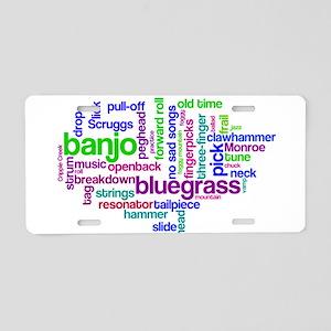 banjo wordle Aluminum License Plate