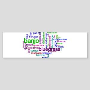 banjo wordle Bumper Sticker