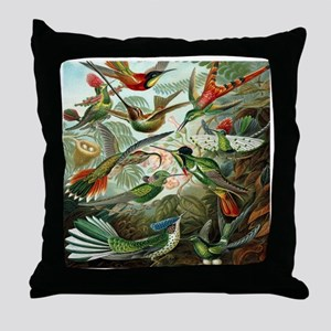 Vintage Hummingbirds Throw Pillow