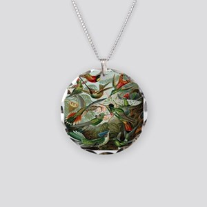 Vintage Hummingbirds Necklace Circle Charm
