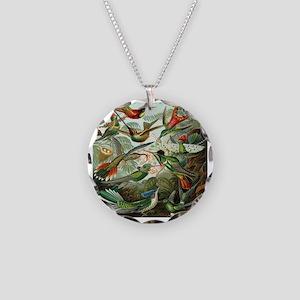 Vintage Hummingbirds Necklace Circle Charm