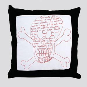 Julius Caesar Skull Red Throw Pillow