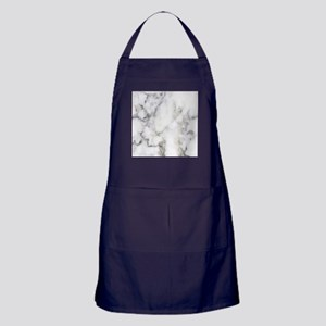 Trendy white and gray marble texture Apron (dark)