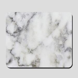Trendy white and gray marble texture pri Mousepad
