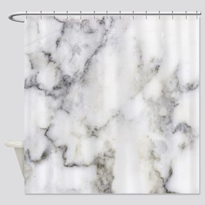 Trendy White And Gray Marble Textur Shower Curtain