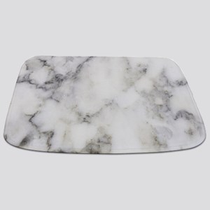 Trendy white and gray marble texture print Bathmat