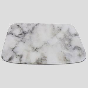 Trendy white and gray marble texture print Bathmat